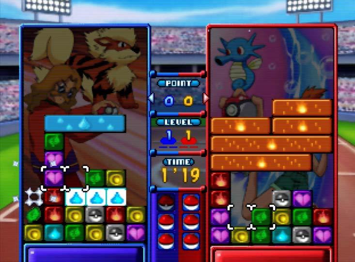 Pokémon Puzzle League two-player battle mode