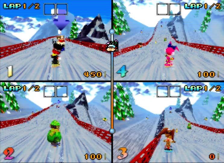 Four-player race in Snowboard Kids for N64