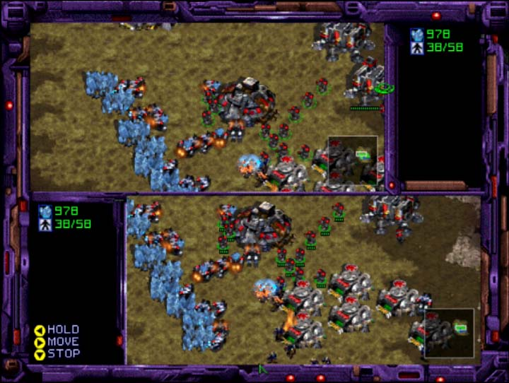 StarCraft 64 two-player team coop mode where you share a base for Nintendo 64