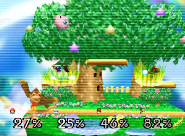 A four-player Free for All battle in Super Smash Bros. for Nintendo 64