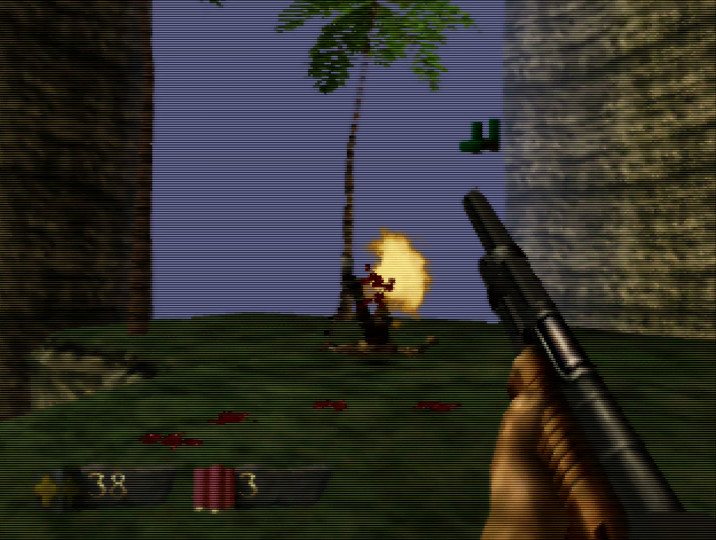 Using explosive shotgun shells in Turok: Dinosaur Hunter for N64