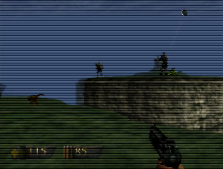 Engaging in a gunfight with guards protecting a key in Turok: Dinosaur Hunter on Nintendo 64