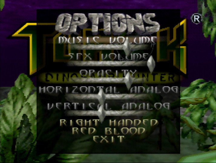 Turok: Dinosaur Hunter options screen