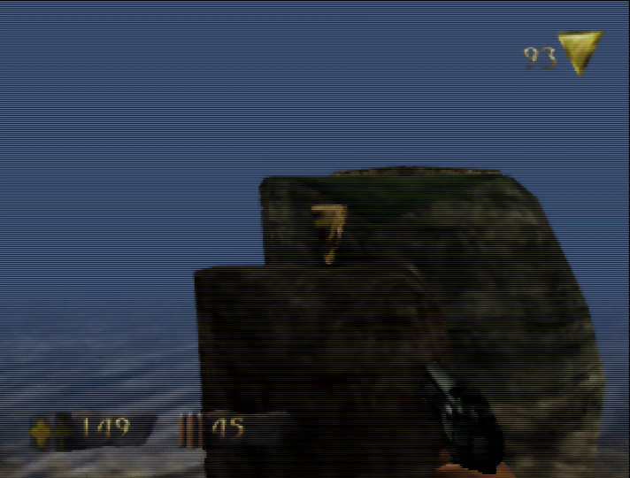 Jumping across pillars in Turok: Dinosaur Hunter for N64