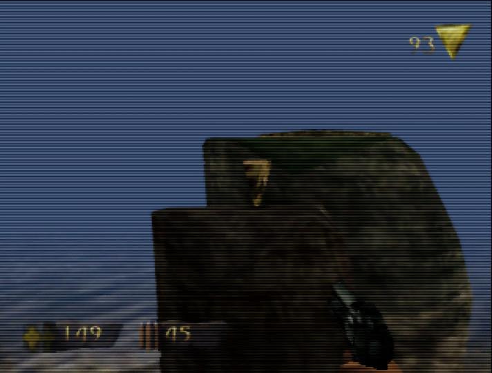 Jumping across pillars in Turok: Dinosaur Hunter for N64