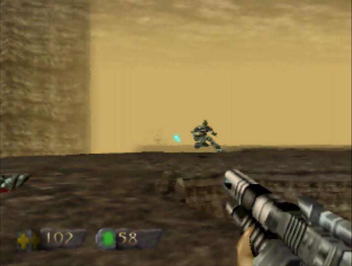 Firing a Pulse Rifle in Turok N64