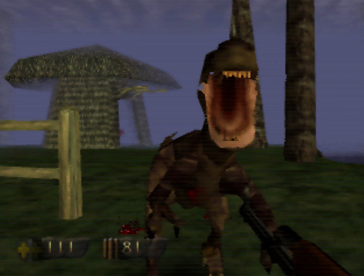 A raptor attacks in Turok: Dinosaur Hunter for Nintendo 64
