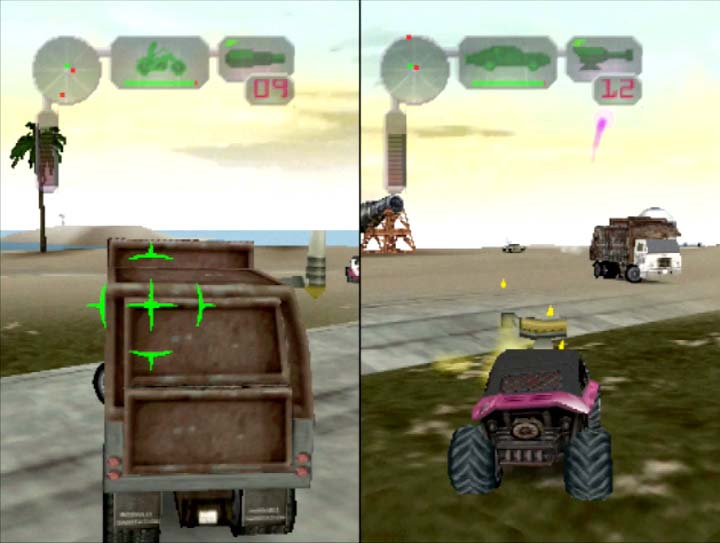 Vigilante 8: 2nd Offense's two-player coop mode on N64