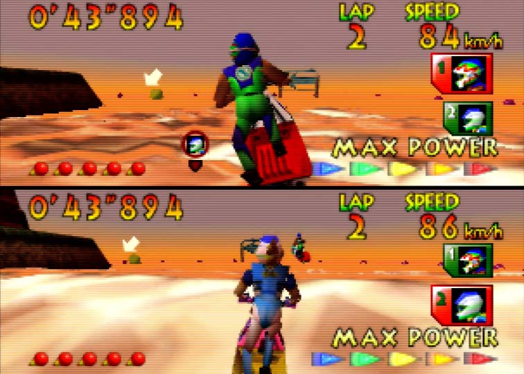 Two-player race on Wave Race's Sunset Bay course (N64)