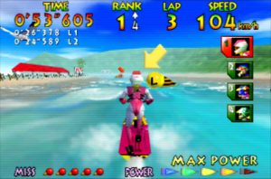 Wave Race 64 running on UltraHDMI N64 with hybrid scanlines activated