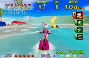 Wave Race 64 running on UltraHDMI N64 with simple scanlines filter