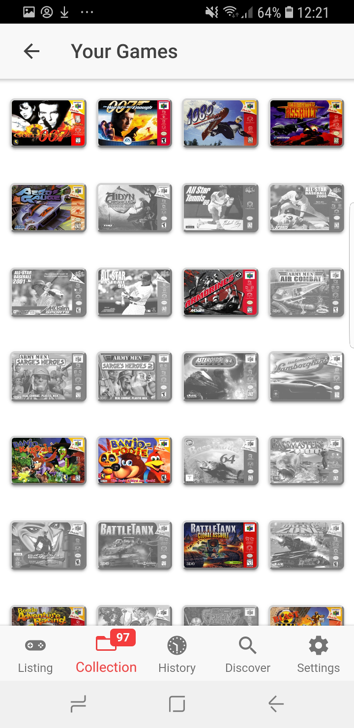 Collect64 app games collection list