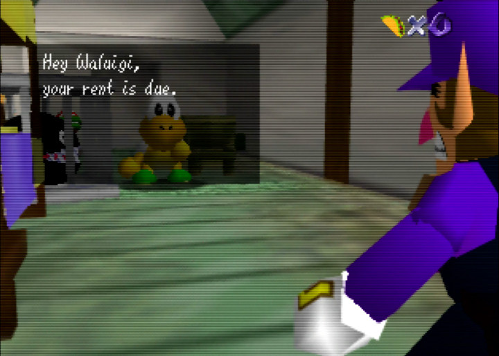 Waluigi's rent is due in Waluigi's Taco Stand for N64