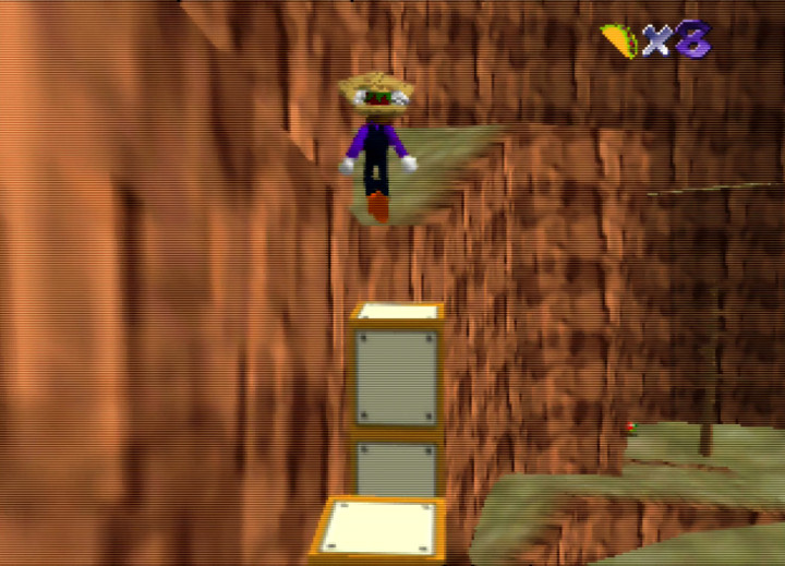 Jumping up blocks in Taco Canyon stage in Waluigi's Taco Stand for N64