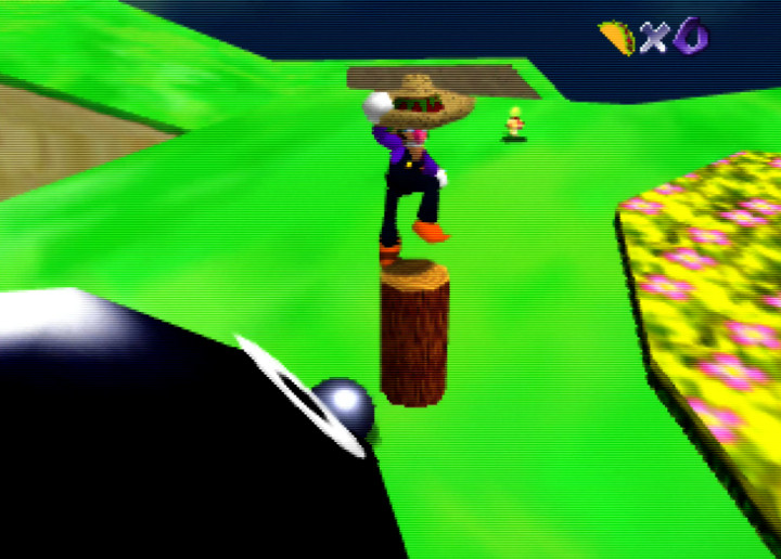 Jumping on a wooden post in Waluigi's Taco Stand for N64