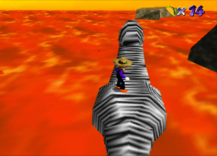 Riding a creature across the red-hot lava in Waluigi's Taco Stand