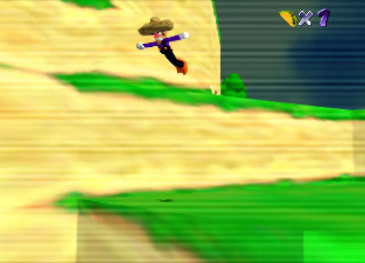 Performing a triple jump in N64 game Waluigi's Taco Stand
