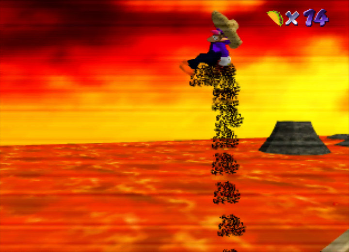 Waluigi burns his butt in Waluigi's Taco Stand N64 ROM hack