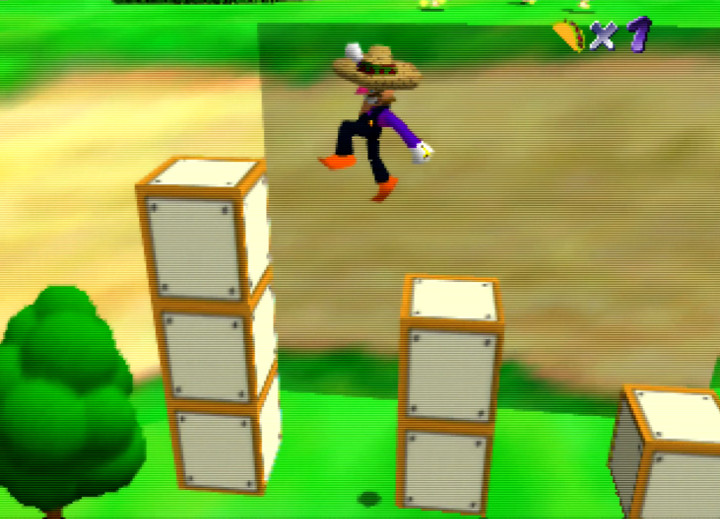Waluigi jumping across pillars in Waluigi's Taco Stand for N64