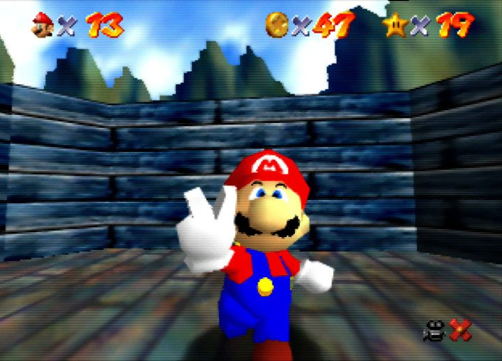 Mario doing the peace sign after completing a star mission in Super Mario 64