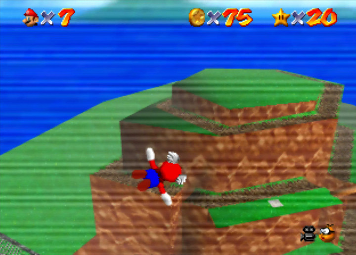 Flying high above Bob-omb Battlefield in Super Mario 64