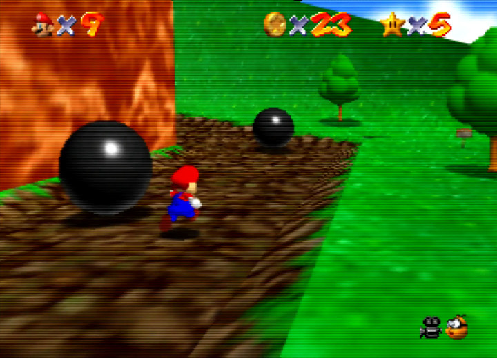 Dodging the rolling black balls in Super Mario 64's Bob-omb Battlefield course