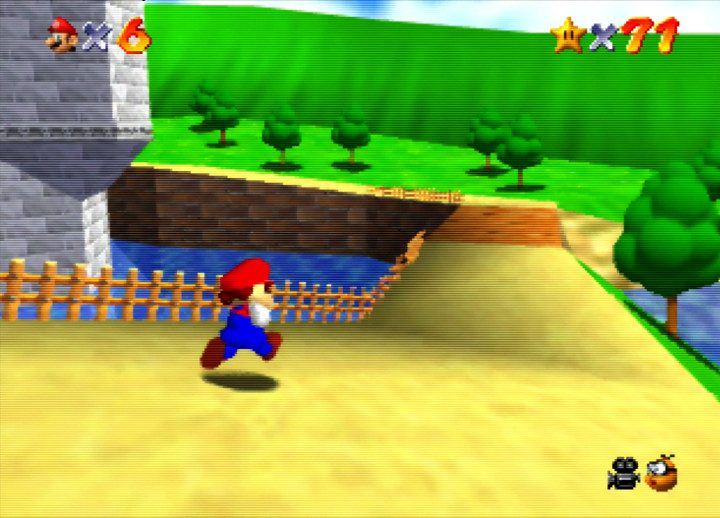 Roaming the castle grounds in Super Mario 64