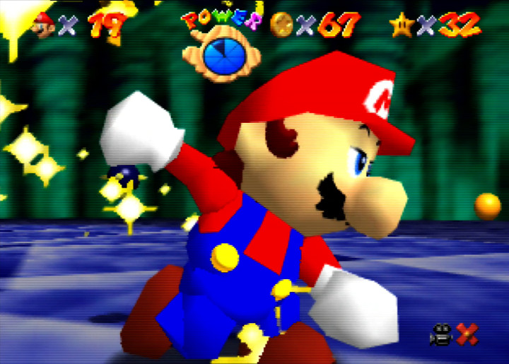 Mario celebrates beating Bowser in Super Mario 64