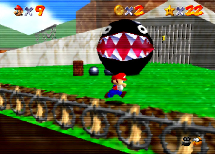 Chain Chomp, as seen in Super Mario 64's Bob-omb Battlefield stage