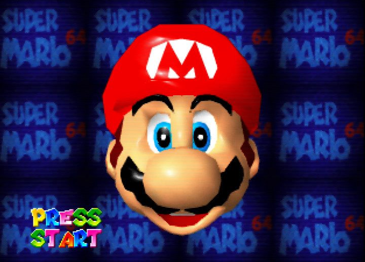 The interactive face demo from Super Mario 64's start screen