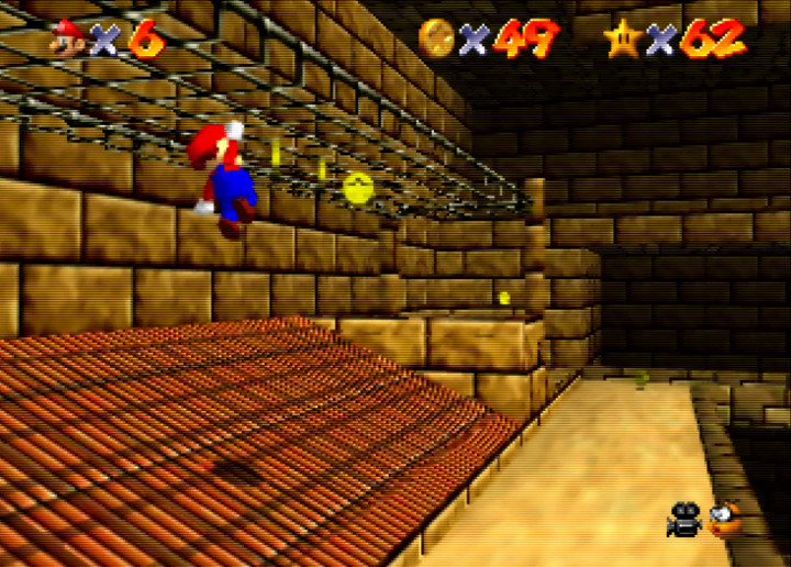 Climbing inside the Shifting Sand Land pyramid in Super Mario 64