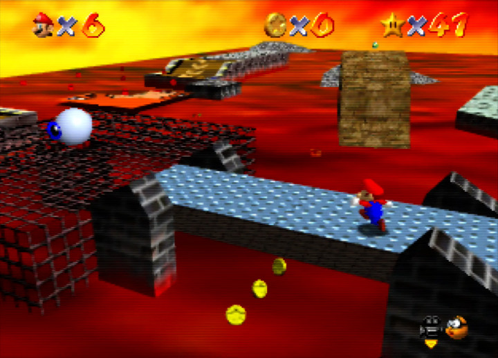 Crossing Lethal Lava Land's draw bridge in Super Mario 64