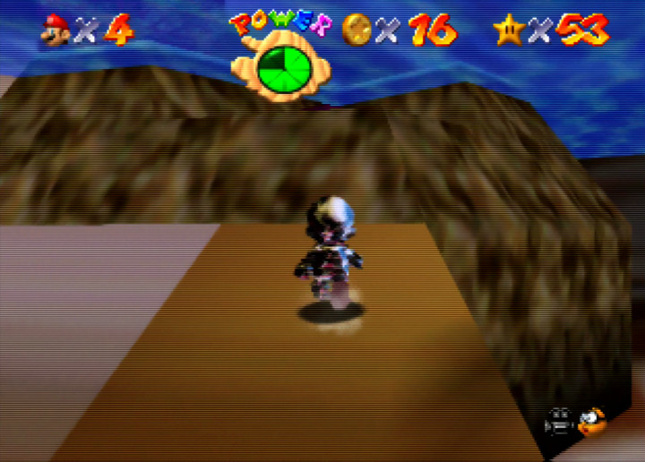 Walking underwater with the Metal Cap in Super Mario 64