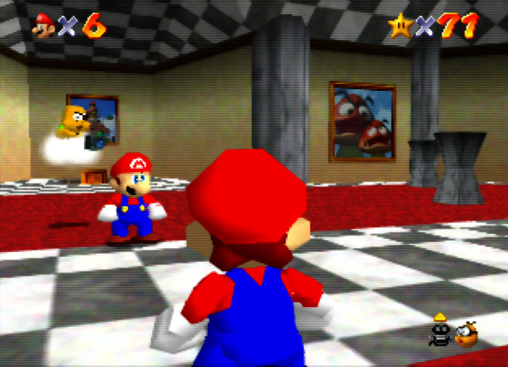 Mario checks himself out in the Castle's mirror room in Super Mario 64