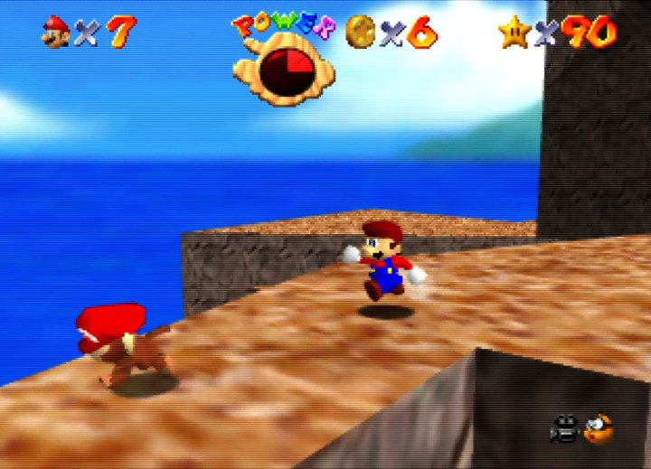The cheeky monkey steals Mario's hat in Super Mario 64