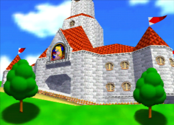 Princess Peach's picturesque castle as it appears in Super Mario 64