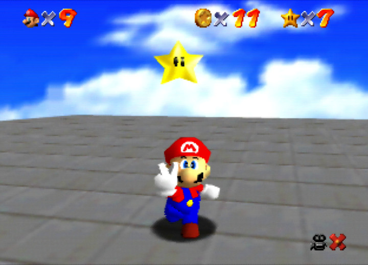 Mario celebrating after acquiring a Power Star in Super Mario 64.