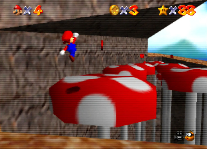 Scary 'Shrooms, Red coins mission in Super Mario 64's Tall, Tall Mountain course