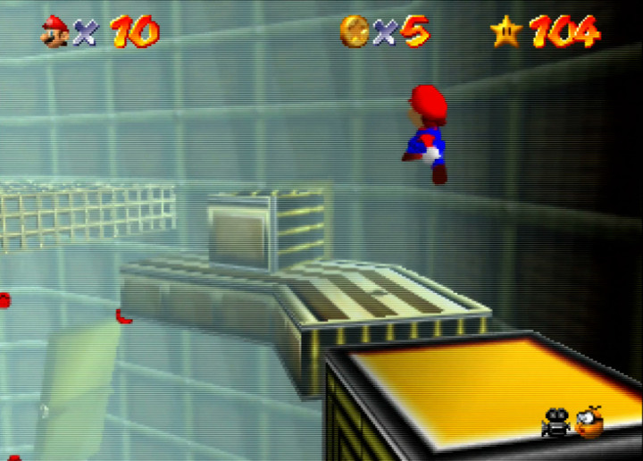 Jumping from platform to platform in Super Mario 64's Tick Tock Clock stage