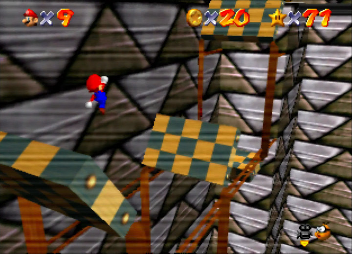 "Jumping from platform to platform in Super Mario 64's secret ""Vanish Cap under the Moat"" stage"