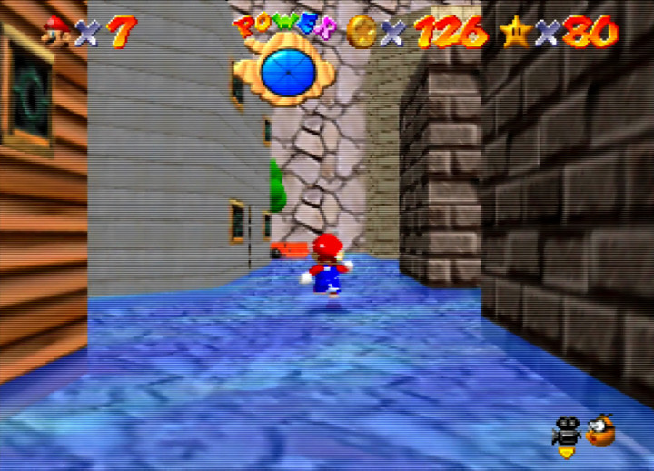Walking through Wet-Dry World's town plaza in Super Mario 64