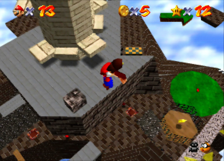 Getting a bird's eye view of Whomp's Fortress with the owl in Super Mario 64