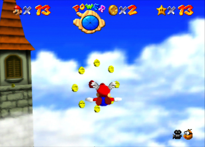 Flying through the sky with the Wing Cap in Super Mario 64 on Nintendo 64