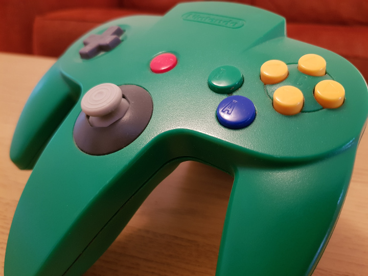 Green N64 controller with GameCube-style replacement joystick