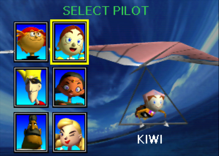 Pilotwings 64 character select screen