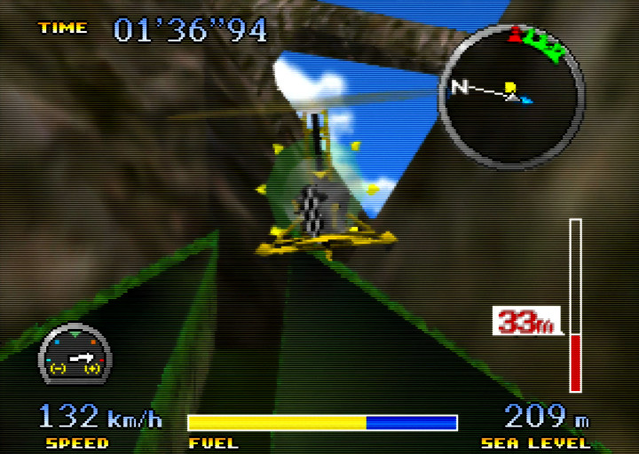Flying through a canyon in the gyrocopter in Pilotwings 64