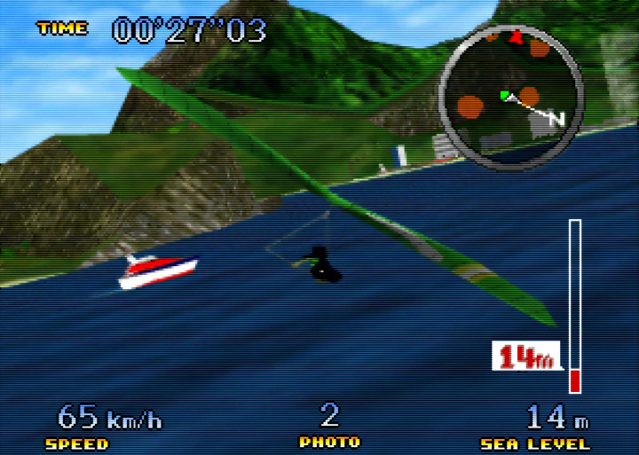 Ibis banks right with the hang glider in Pilotwings 64