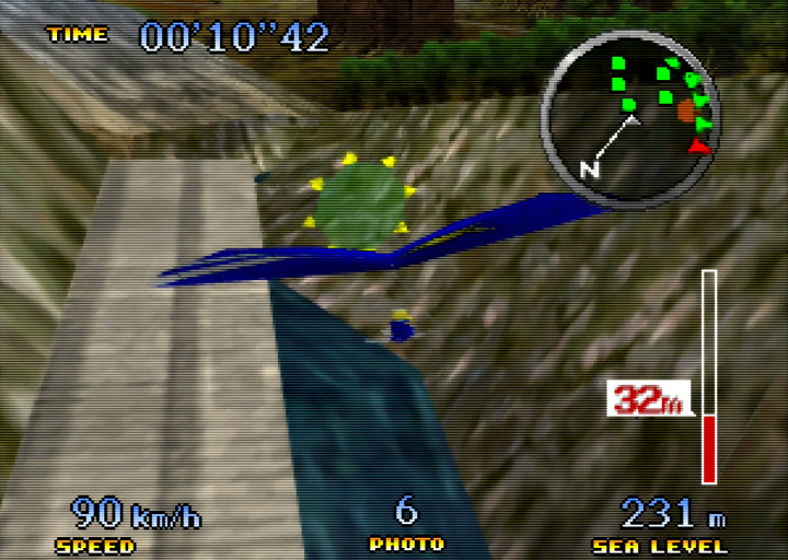 Flying the hang glider above a mountain gorge in Pilotwings 64