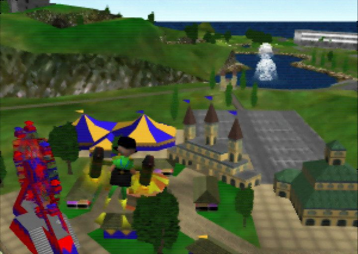Ibis flies the rocket belt above Holiday Island's fun fair in Pilotwings 64
