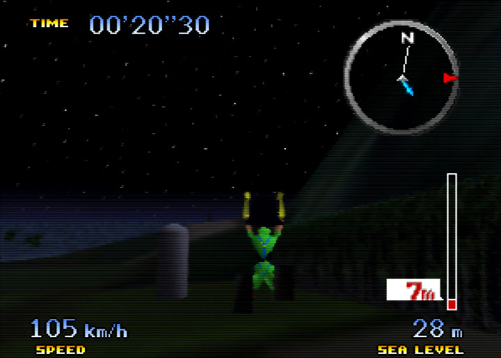 Ibis jumps with the Jumble Hopper in N64 game Pilotwings 64